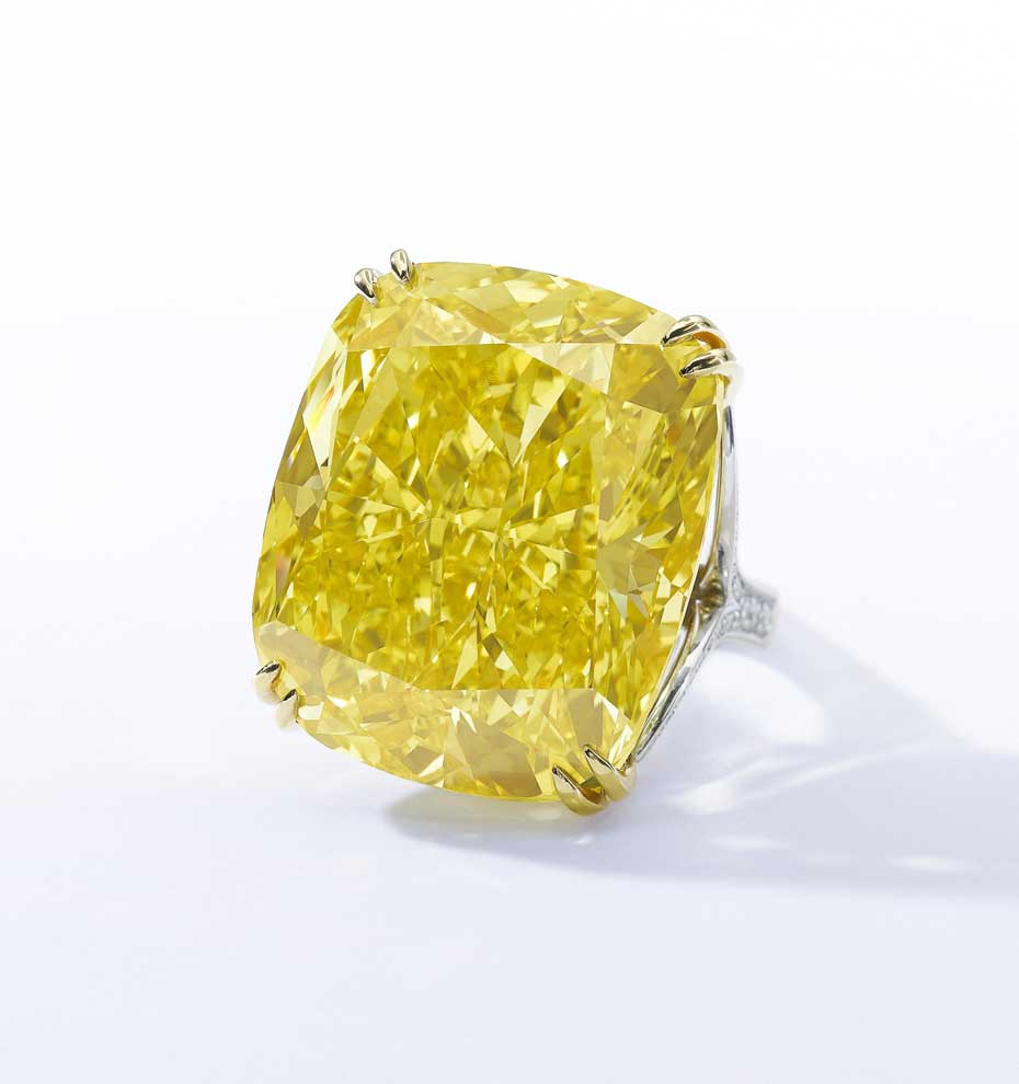 The 100.09ct Graff Vivid Yellow daffodil diamond ring is poised to enter the history books when it goes under the hammer at Sotheby's Geneva next month (estimate: CHF 13,400,000 - 22,300,000 / $15-25 million). Image by: Sothebys.