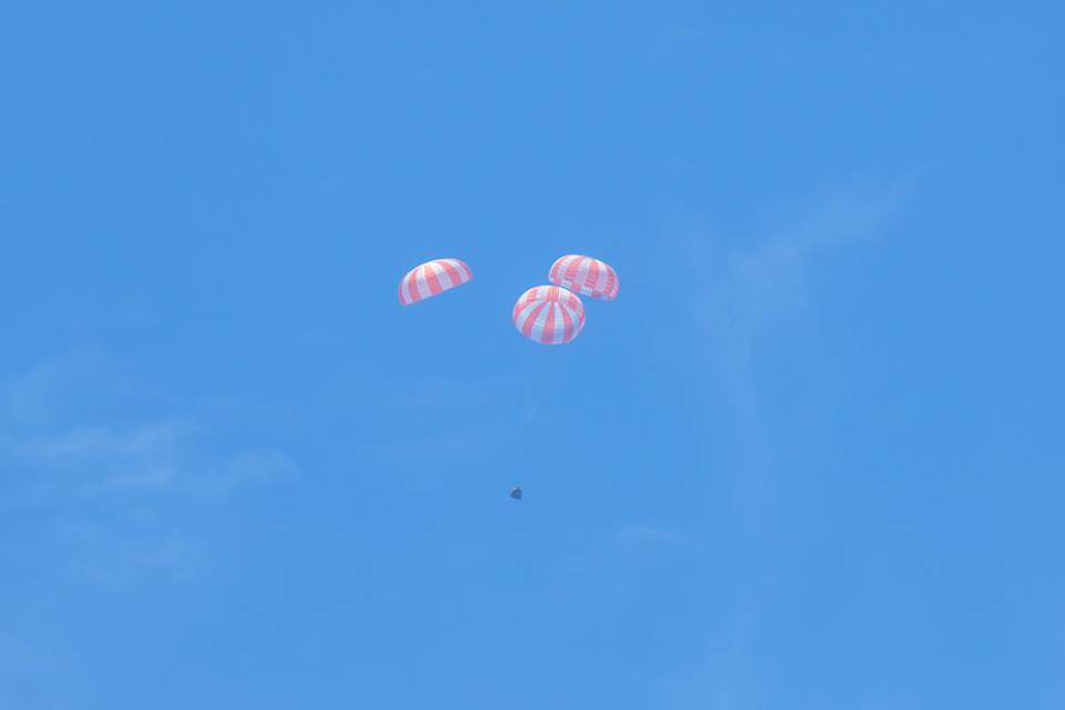 SpaceX Dragon cargo spacecraft splashed down at 3:05 p.m. EDT Sunday in the Pacific Ocean and returned more than 3,500 pounds of NASA cargo and science samples from the International Space Station. Photo courtesy of NASA on Facebook.