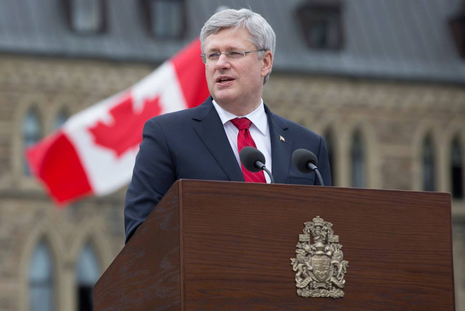 PM Stephen Harper at the National Day of Honour Ceremony on Parliament Hill. Photo courtesy of Harper's official Facebook page.