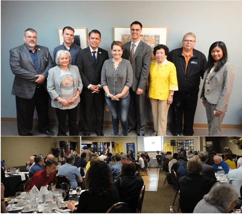 (Photo above) Consul General Neil Ferrer with Mayor Bill Given (4th from right) and the Chamber of Commerce of Grande Prairie. (Photo below) Consul General Neil Ferrer delivers short remarks during the Rotary Club Meeting in Grande Prairie.