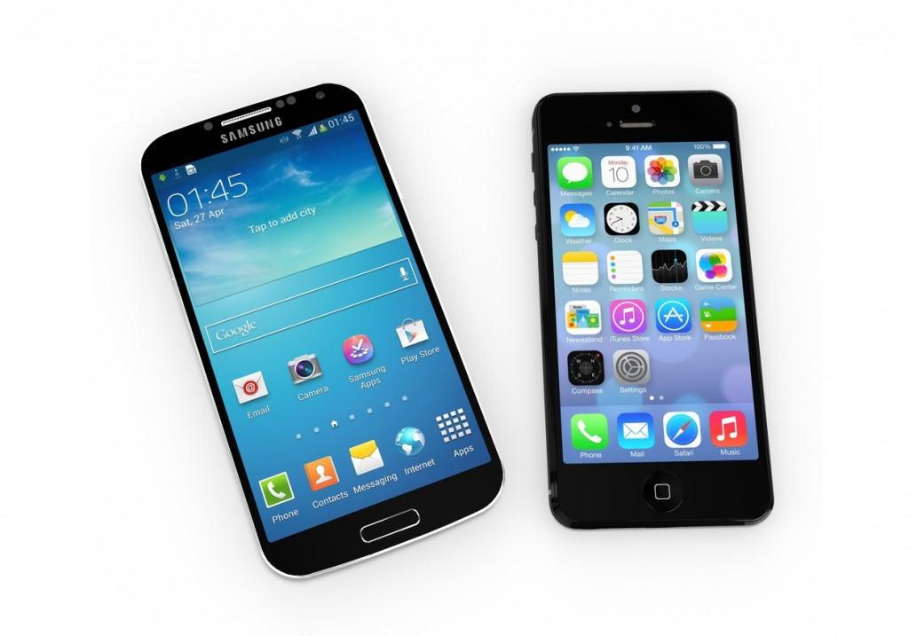Samsung and Apple mobile devices. (Pedro II / Shutterstock)
