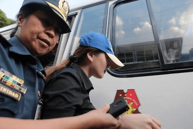 Deniece Cornejo en route to Taguig RTC. PNP-PIO photo.