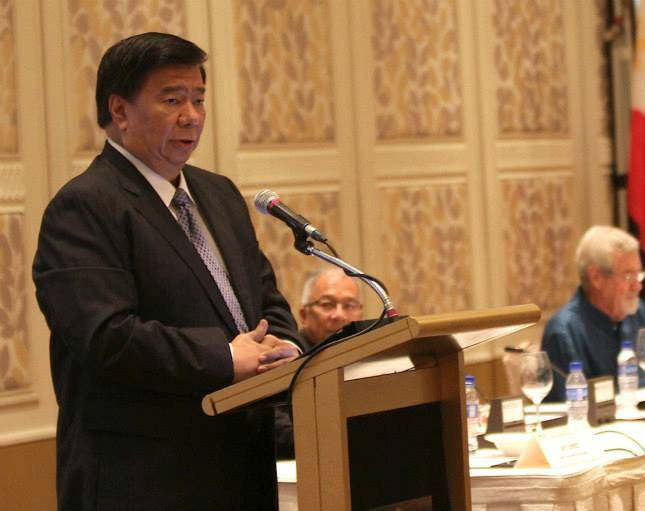 Sen. Franklin Drilon delivers his speech at the Wallace Business Forum in 2013. Photo by Joseph Vidal/PRIB via Drilon's Facebook page.