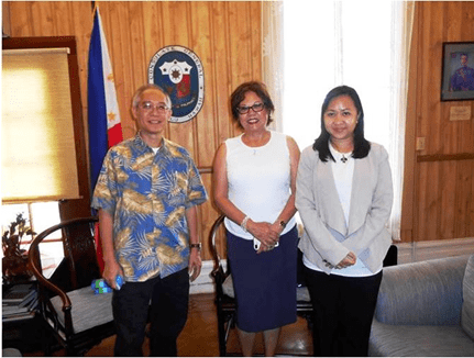 (From left)  Acting Head of the Philippine Consulate General in Honolulu Roberto T. Bernardo, Ms. Esther Misa Chavez, and Vice Consul Joyleen E. Santos.