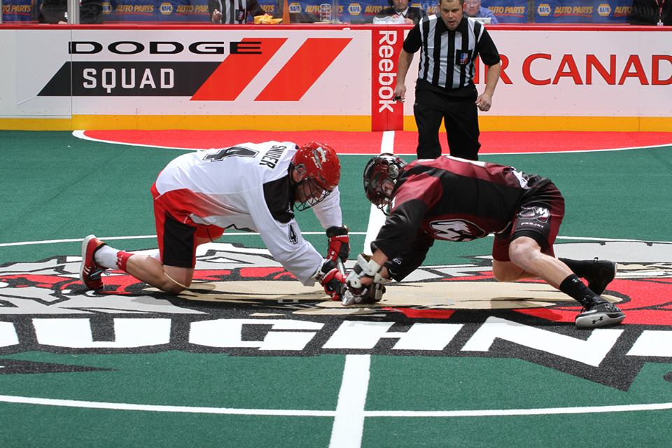 Calgary Roughnecks battle Colorado Mammoths in NLL playoffs. Photo from NLL official Facebook page.