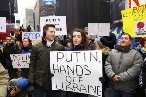 EuroMaidan, a Ukrainian-based pro-western movement, sponsored a rally & march to the Russian consulate to protest Moscow's intervention in the Ukraine. Times Square. a katz / Shutterstock