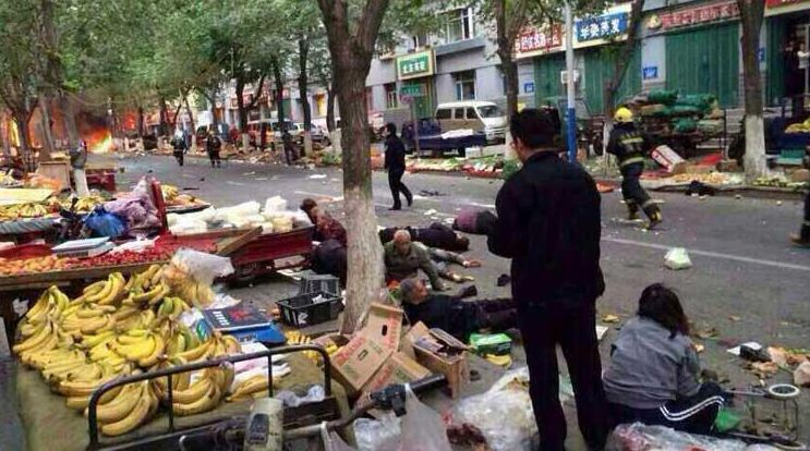 Market-place bombing in Xinjiang, China killed 31 people on Wednesday, May 22. TWITTER PHOTO