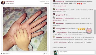 Sarah's Instagram post