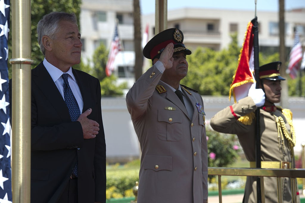 U.S. Secretary of Defense Chuck Hagel participates in an arrival honors ceremony with then Egyptian Minister of Defense, Abdel Fatah Saeed Al Sisy, in Cairo, Egypt, 24 April 2013. Wikipedia photo