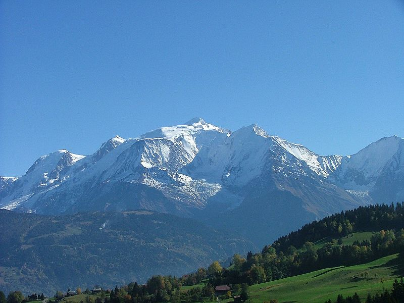 Mont Blanc, the highest point of the Alps. Wikipedia photo