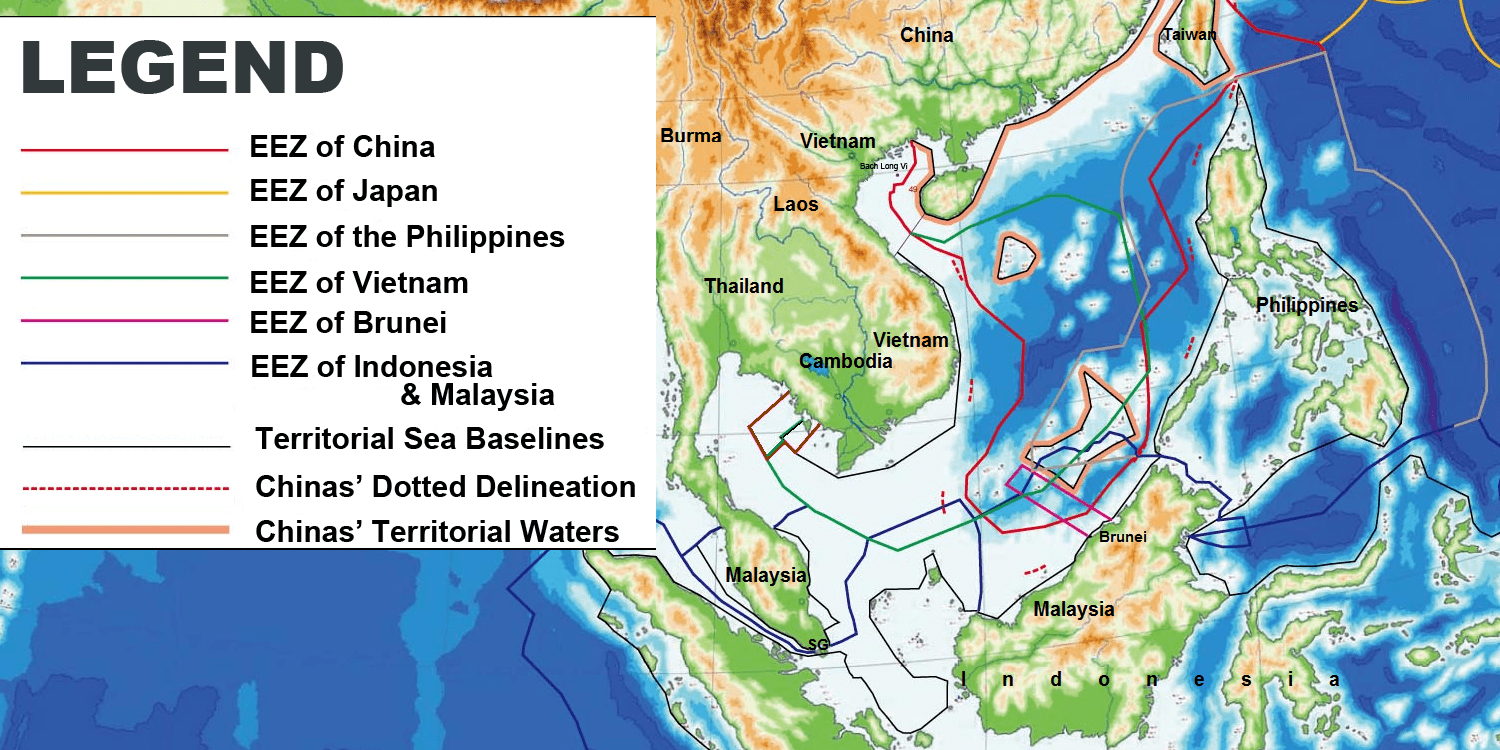 EEZ line of Vietnam (green), and China's red dotted line correspond with each of the respective countries' claims to the Paracels. Photo from Wikimedia Commons.