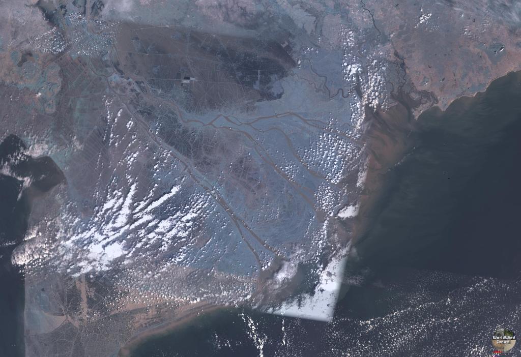 Mekong Delta Sea from satellite. Photo courtesy of NASA / Wikimedia Commons.