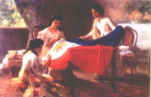 The Philippine Flag sewn in Mexico by by Mrs. Marcela Marino Agoncillo, her daughter Lorenza and Mrs. Delfina Herbosa Natividad. / Wikipedia Photo