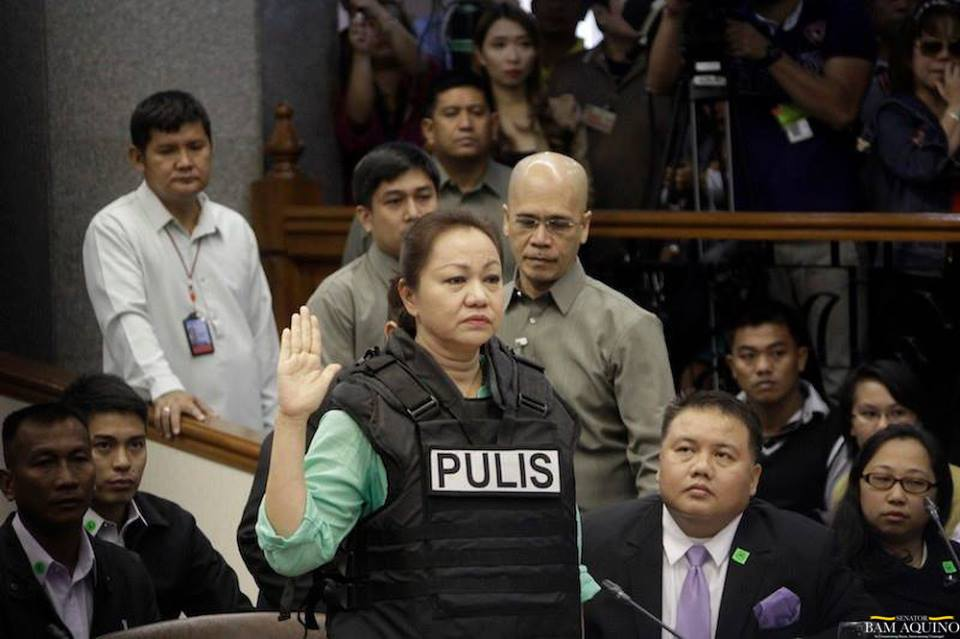 Alleged pork barrel scam mastermind Janet Lim-Napoles. (Photo from Sen. Bam Aquino's official Facebook page)
