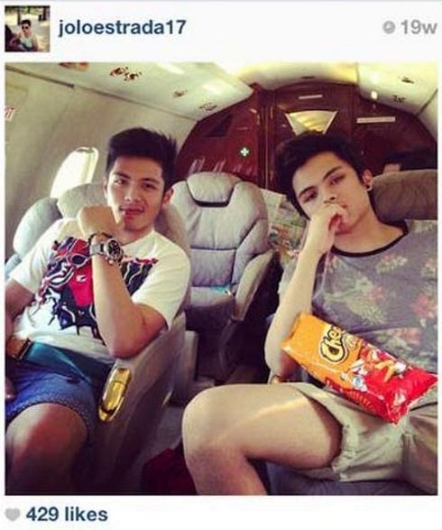 JETSETTER: The young Estrada travels via a private jet. Photo courtesy of Arpee Lazaro.