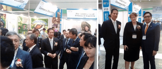 (Left photo) Ambassador Hernandez takes a tour the of Import Goods Fair (Living and Life) organized by the Korea Importers' Association (KOIMA) on June 12 at the COEX Center in Seoul. (Right photo) Ambassador Hernandez pose for a photo together with the Ambassador of Belarus to South Korea Natallia Zhylevich and Commercial Counselor Nicanor S. Bautista, who heads the Philippine Trade and Investment Center in South Korea.