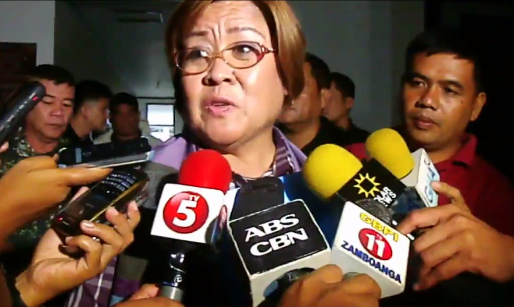 Justice Secretary Leila De Lima (Screenshot from Zamboanga Times footage)