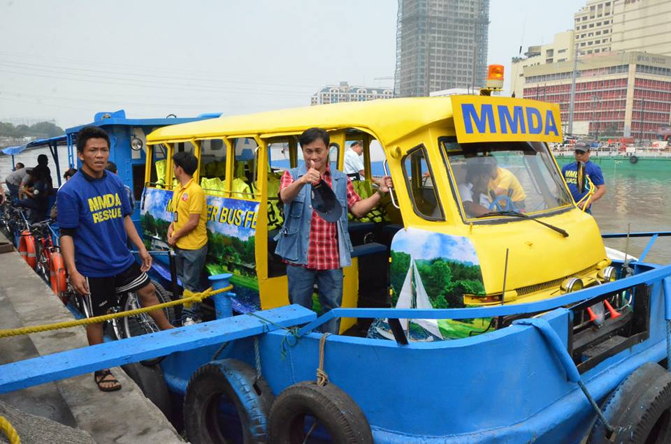 MMDA Chairman Atty. Francis Tolentino checks the stations and ferries before the re-opening of the Pasig River Ferry on March 2014. Photo from MMDA's official Facebook page.