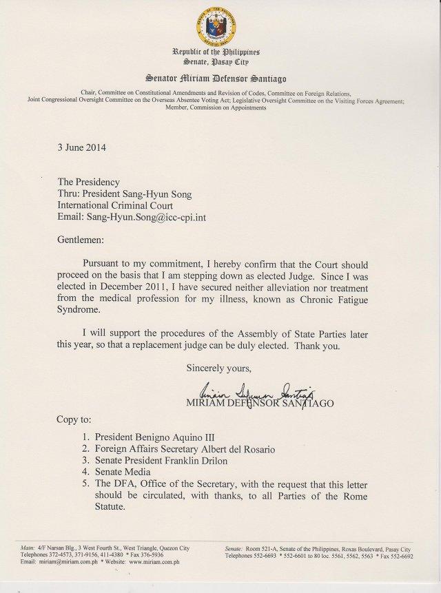 Miriam Defensor Santiago ICC letter