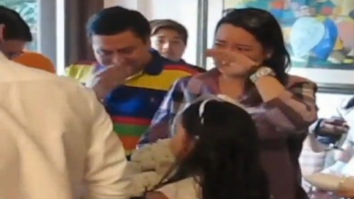 Jinggoy and Precy Estrada, overcome with emotion, at their surprise 25th wedding anniversary celebration. (Screengrab from video)