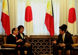 TOKYO, Japan – President Benigno S. Aquino III exchanges pleasantries with Japanese Prime Minister Shinzo Abe during the Summit Meeting & Working Lunch at the Prime Minister's Official Residence in 2-3-1 Nagata-cho, Chiyoda-ku, Tokyo on Tuesday (June 24, 2014). The meeting is an opportunity for the two leaders to exchange views on recent regional developments and to discuss areas of cooperation to enhance the Philippines-Japan Strategic Partnership. (PLDT powered by SMART) (Photo by Gil Nartea/ Malacañang Photo Bureau/PNA)
