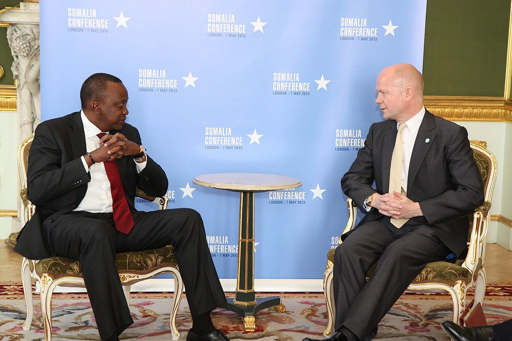 President of Kenya Uhuru Kenyatta with the British Foreign Secretary William Hague at an international conference in London (May 2013). Wikipedia photo