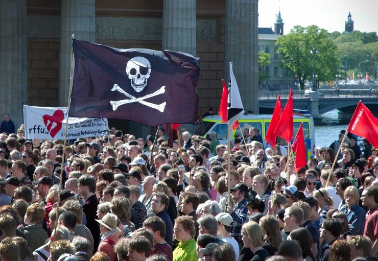 Rally in Stockholm, Sweden, in support of file sharing and software piracy. Photo by Jon Aslund / Wikipedia