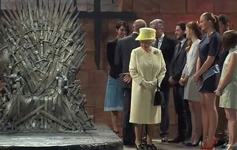 """""""Your Grace."""" Her Majesty Queen Elizabeth II visits the set of HBO epic """"Game of Thrones."""" Screenshot of Sky News footage."""