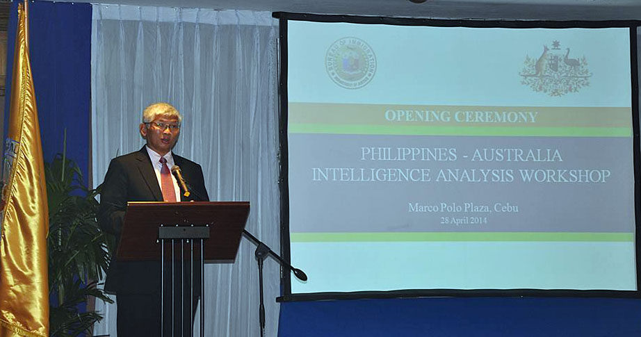 Hon. Siegfred B. Mison delivering his speech during the opening ceremony of the Philippines-Australia Intelligence Analysis Workshop held on 28 April 2014 at Marco Polo Plaza, Cebu City. BI photo