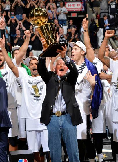 Spurs Head Coach Gregg Popovich. San Antonio Spurs: NBA Champions (NBAE / Getty Images via SA Spurs Facebook page)