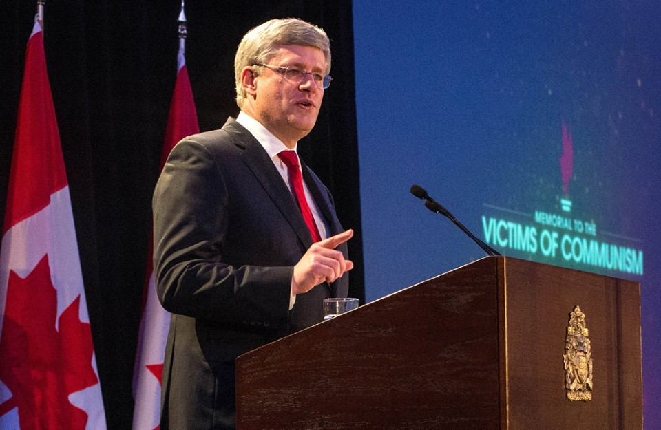 PM Stephen Harper at the Tribute to Liberty dinner. Photo courtesy of Harper's official Facebook page.