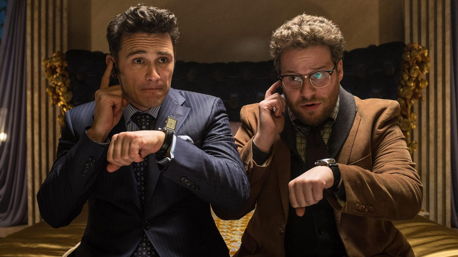 "James Franco and Seth Rogen star in ""The Interview."" Photo courtesy of Yahoo!"