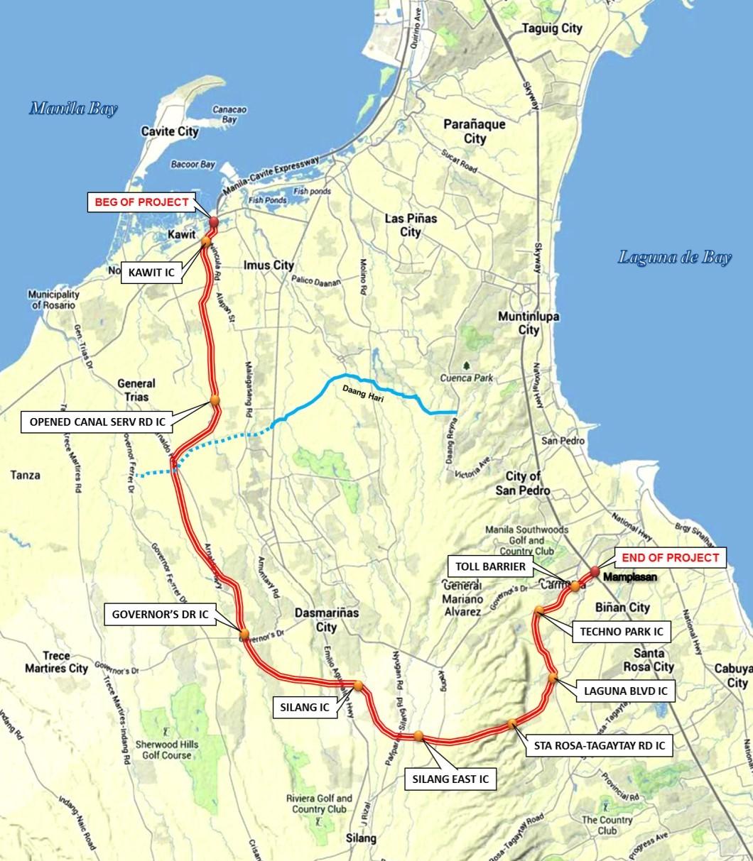 Cavite-Laguna Expressway. Photo courtesy of DPWH.