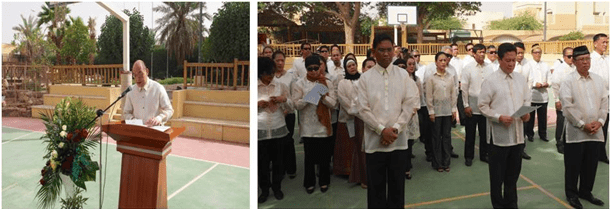 "Ambassador Tago (left photo)  reads the Independence Day message of President Benigno S. Aquino. This was followed by the singing of ""Tagumpay Nating Lahat"" by the Philippine Embassy Choir and the traditional Filipino breakfast."