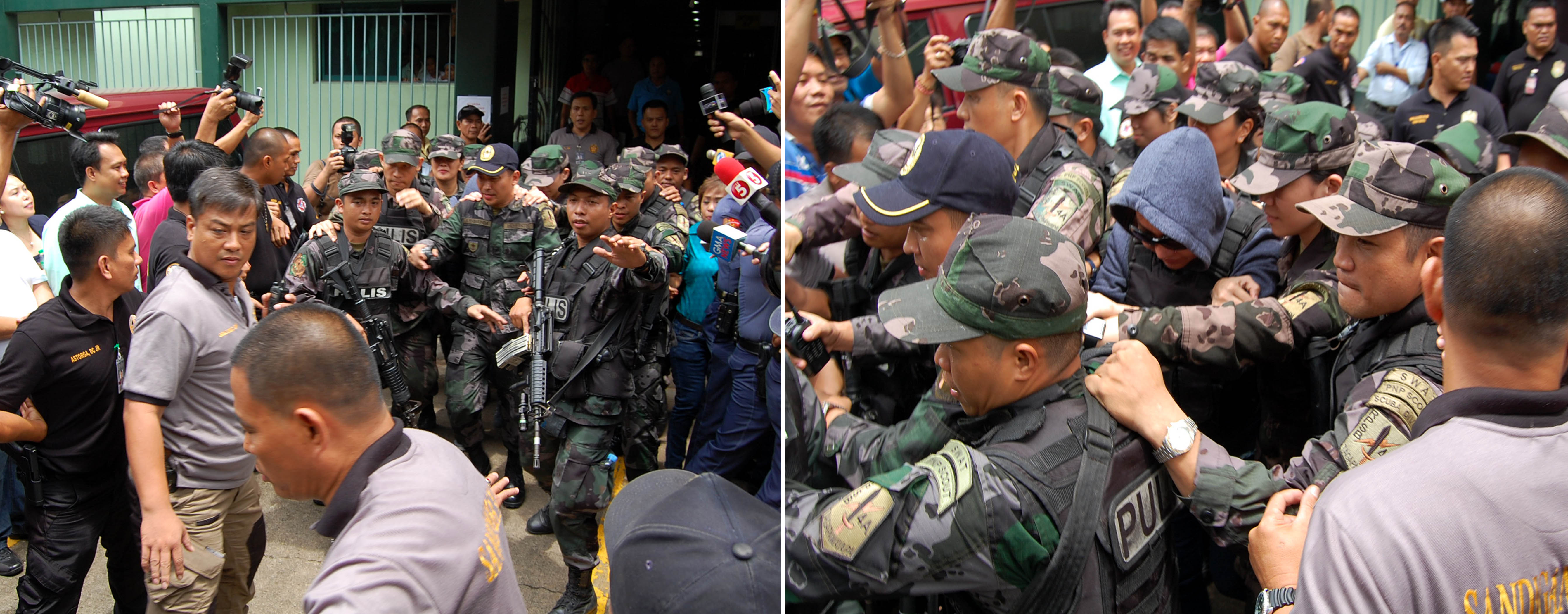 Alleged pork barrel scam mastermind Janet Lim-Napoles (center in right photo) is escorted by Philippine National Police (PNP) personnel out of the courtroom after her arraignment for plunder charges on Thursday (June 26, 2014) at the Sandiganbayan in Quezon City. (PNA photos by Gil S. Calinga)