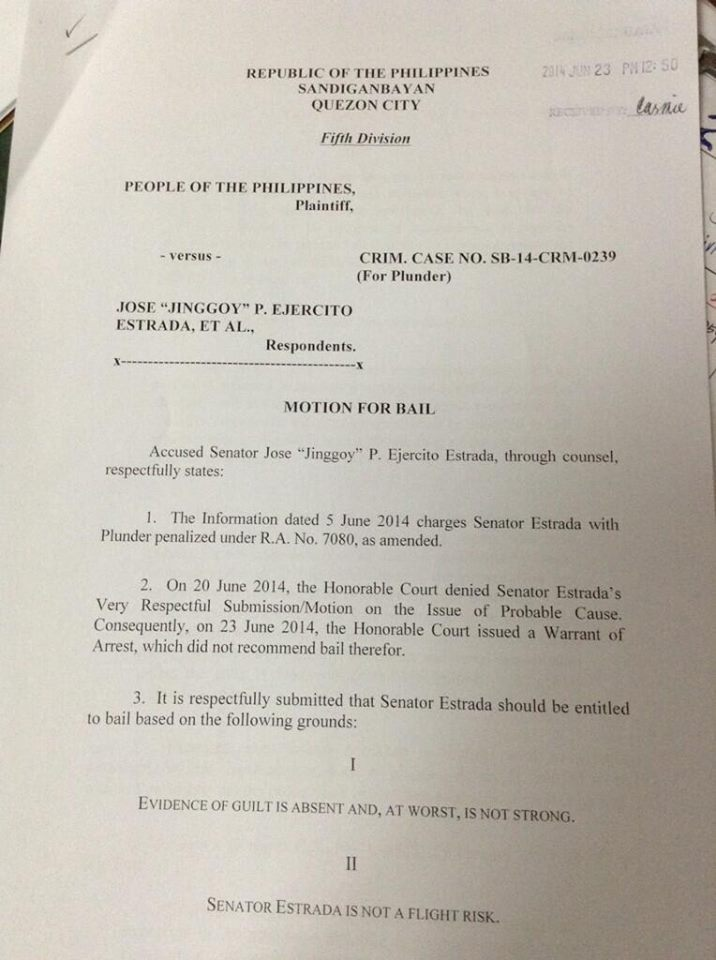 Sen. Jinggoy Estrada files motion for bail. Photo by Jenny Reyes, ABS-CBN News on Facebook