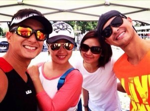 Matteo Guidecilli and Sarah Geronimo (right) with Judy Ann Santos and Ryan Agoncillo (left) . Photo from Matteo's official Facebook page.