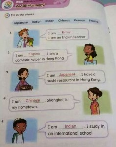 A photo of the textbook depicting Filipinos as domestic helpers. / Photo from Tom Grundy's official blog. (Hongwrong.com)