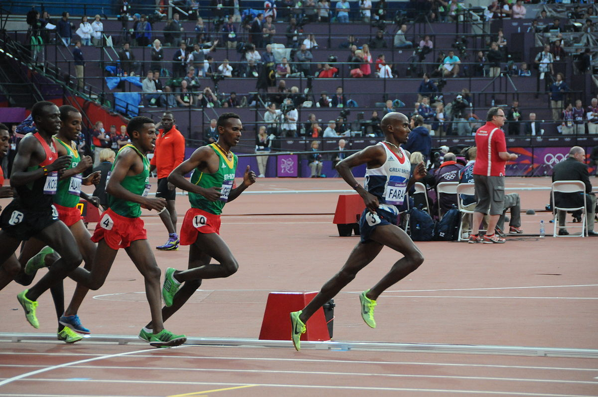 Mo Farah leading in the 5000m men's final at the 2012 Summer Olympics. Photo by Tab59 / Flickr.