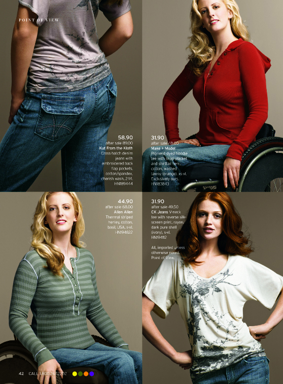 A page from Nordstorm's lookbook that features disabled models. Photo from press.nordstrom.com.