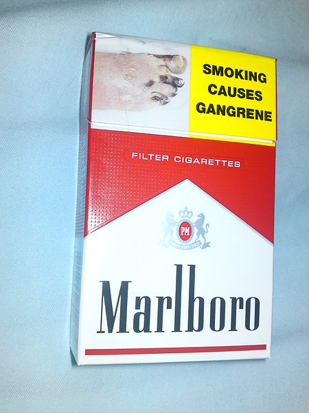 The front of a 20 pack of Marlboro red cigarettes sold in New Zealand. (Wikipedia photo)