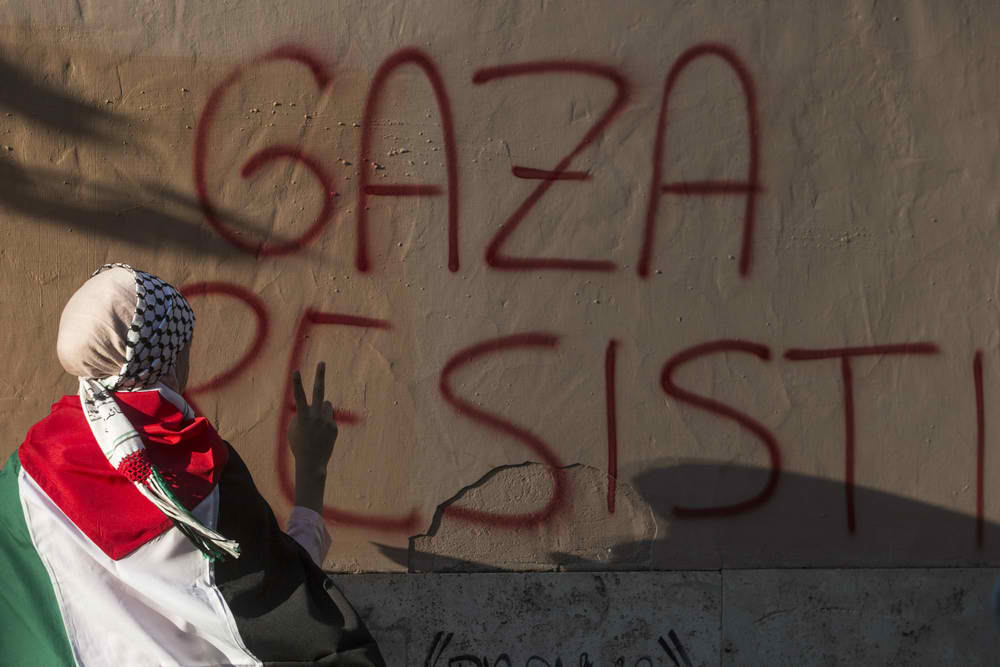 Participants protest against continued violence in Gaza at a demonstration on July 24, 2014 in Rome, Italy. At least 730 Palestinians and 34 Israelis have been killed. Giulio Napolitano / ShutterStock
