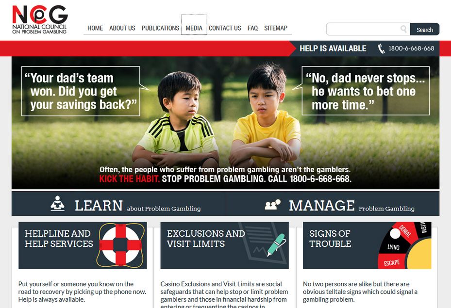 Screenshot of National Council on Problem Gambling website with World Cup ad.