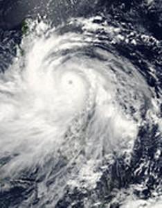 Typhoon Glenda (Rammasun)  shortly before Philippine landfall on July 15. (NASA satellite image / Wikipedia photo)