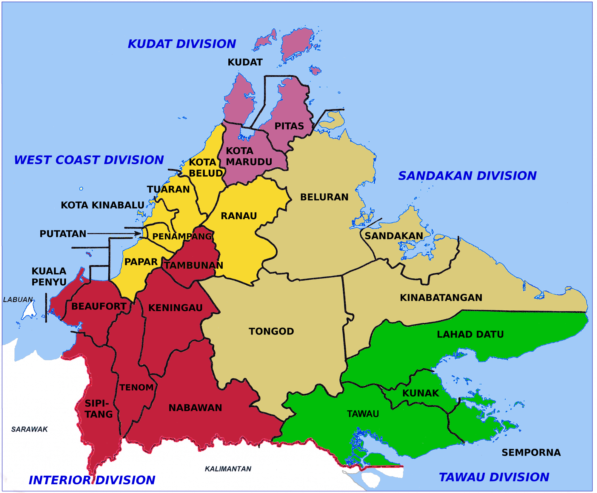 Map of Sabah. Photo by Cccefalon / Wikimedia Commons.