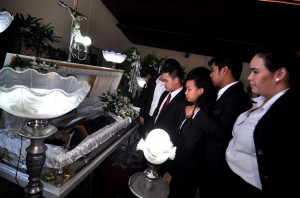 Friends of Guillo Servando, a hazing victim during the wake. / Photo courtesy of Richard A. Reyes, Philippine Daily Inquirer