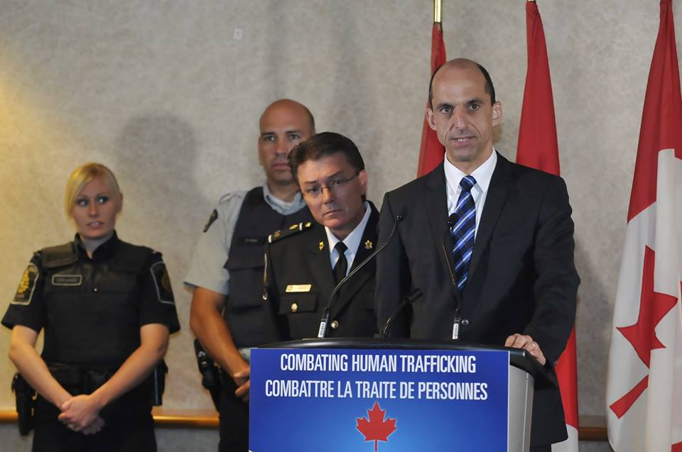 Public Safety Minister Steven Blaney addresses the public about the fight against human trafficking. Photo courtesy of Blaney's official Facebook page.