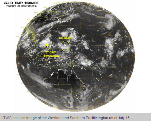 A satellite image from JTWC reveals typhoon Glenda (Rammasun) and a low pressure rapidly developing into a tropical cyclone over South Pacific Photo Credit: Joint Typhoon Warning Center US