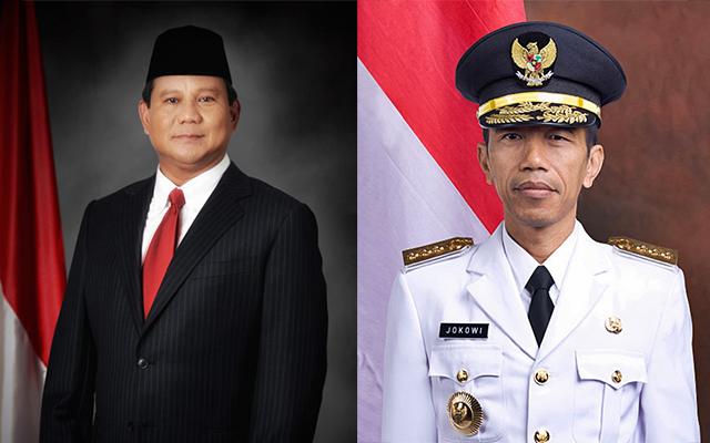 Prabowo Subianto and Joko Widodo. Photos from Wikimedia Commons.