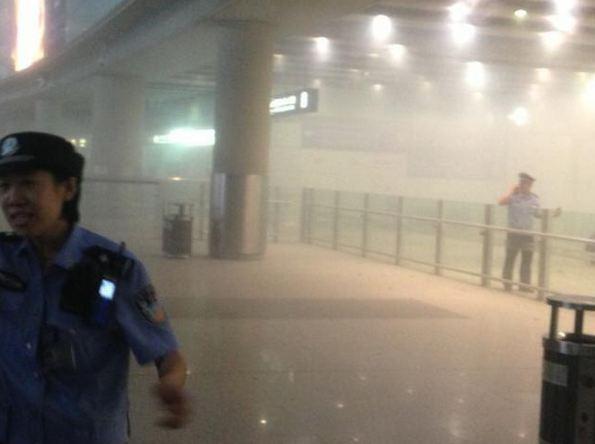 Explosion hits Chinese airport. Photo courtesy of Joe MacDonald via Twitter.